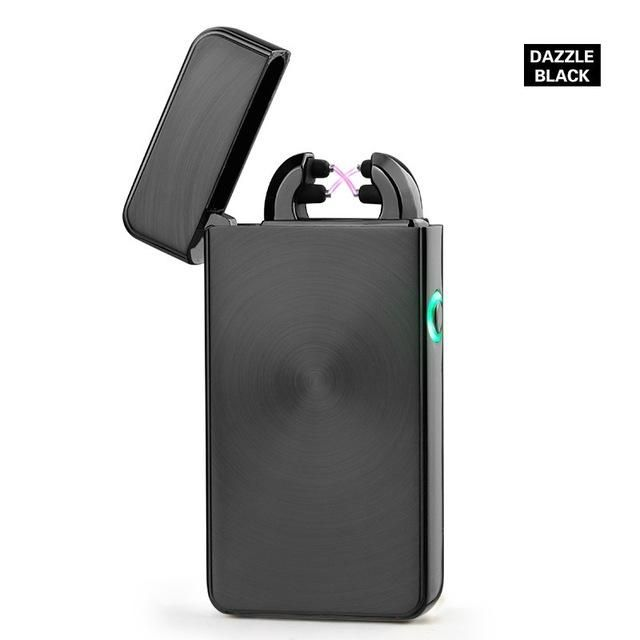 USB Rechargeable Windproof Flameless Electronic Pulse Double Arc Lighter