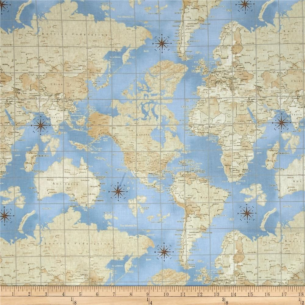 Theory of aviation world map multi from fabricdotcom designed by theory of aviation world map multi from fabricdotcom designed by whistler studios for windham fabrics gumiabroncs Gallery