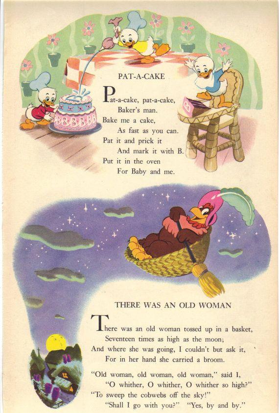 1949 Vintage Disney Nursery Rhyme Print Baby Rhymes Lyrics