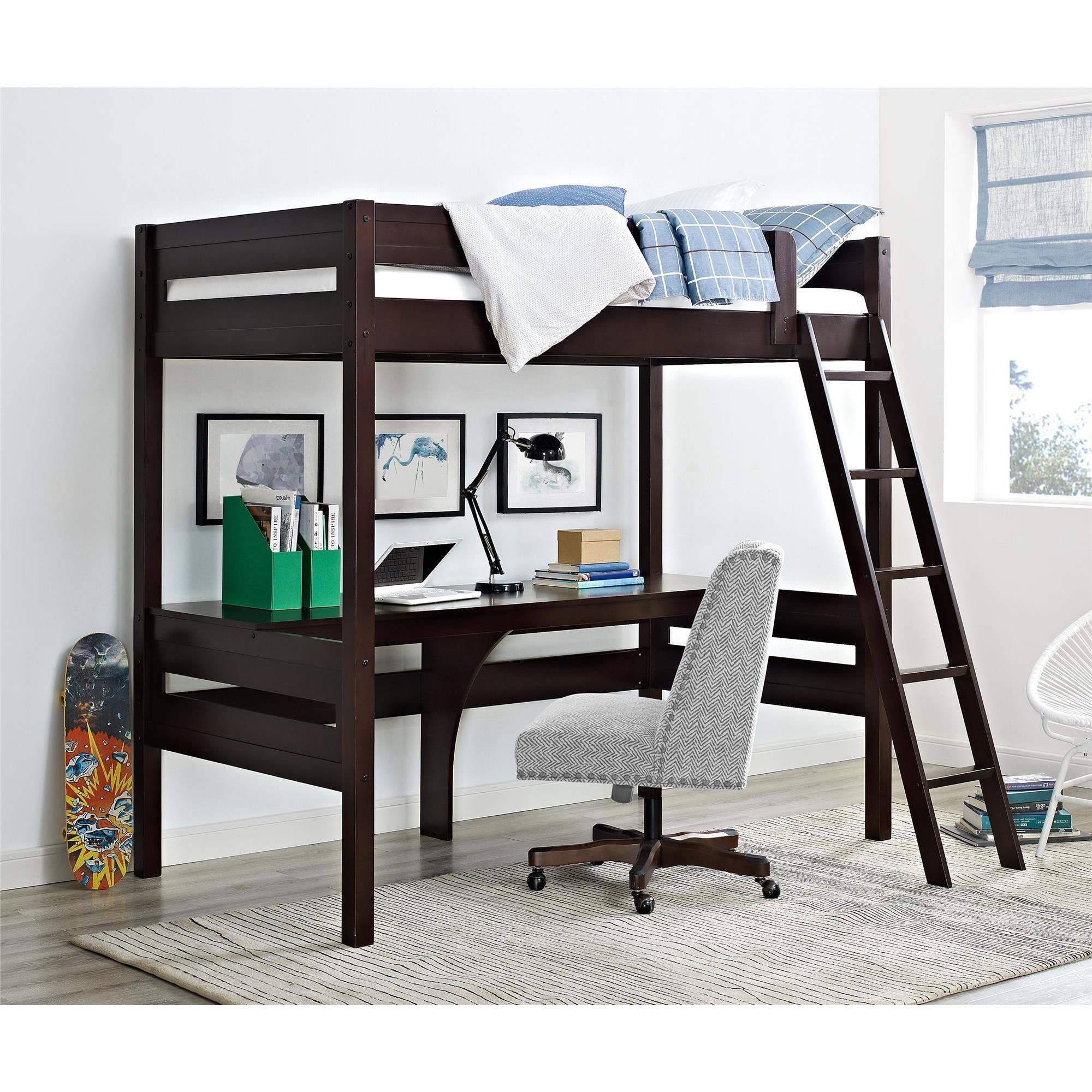 Loft bed with desk full size  Dorel Living Harlan Loft Bed with Desk Loft bed espresso Brown