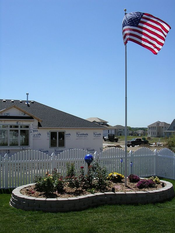 Flag Pole Idea Small Raised Garden Area Around Pole Flag Pole Landscaping Garden Poles Backyard Landscaping
