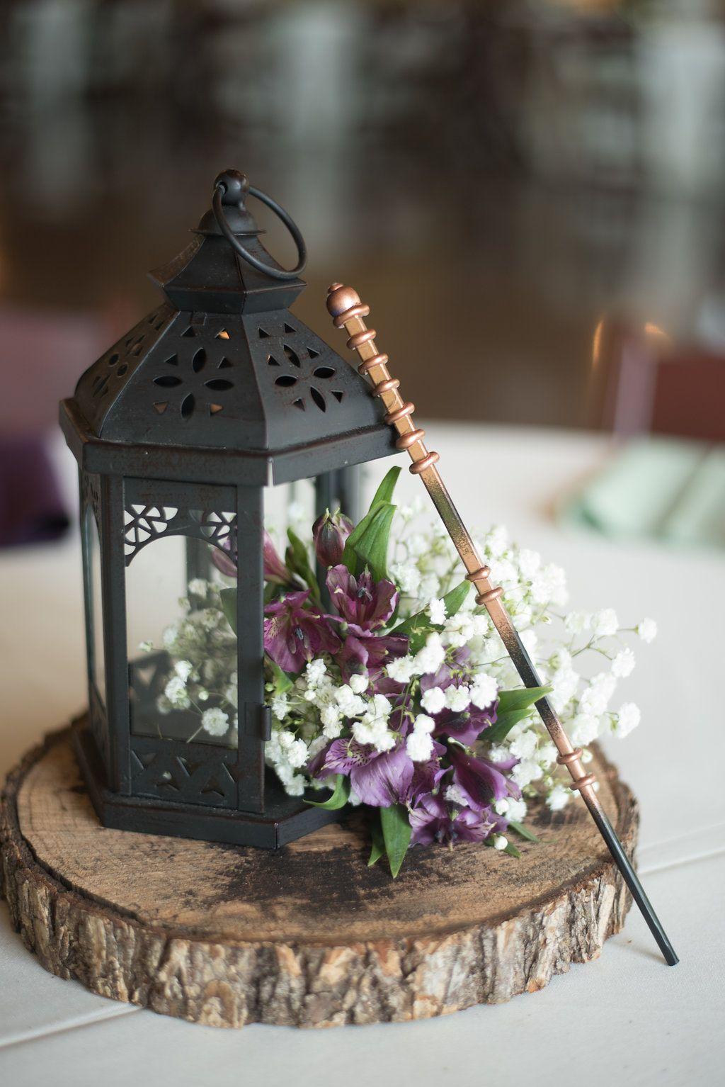 Lilac wedding decoration ideas  rustic lantern wedding centerpiece  harry potter themed wedding
