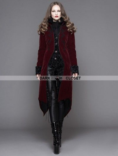 Devil Fashion Wine Red Gothic Palace Style Long Coat for Women ... 2f7d067f0