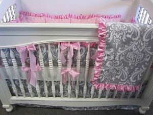 Gray Damask 4 Piece Set Crib Bedding By Extras On Etsy 275 00