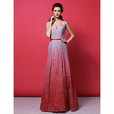 Formal Evening Dress A-line Straps Floor-length Sequined Dress – AUD $ 413.99