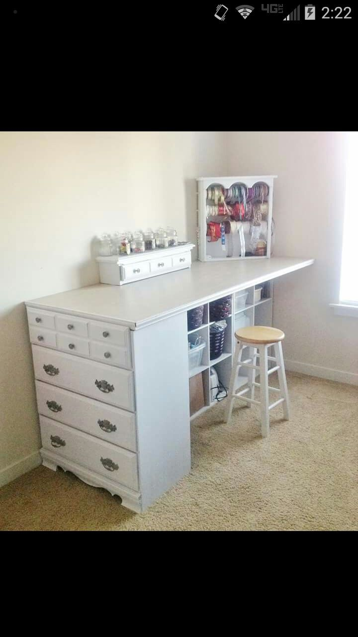 Craft Room Table And Storage Artsy Fartsy Upcycled