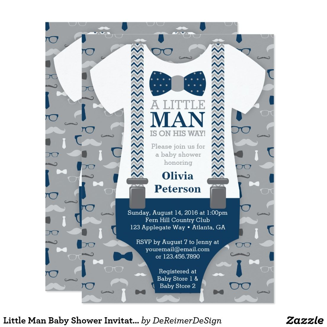 Little Man Baby Shower Invitation, Navy Blue, Gray Card | Shower ...