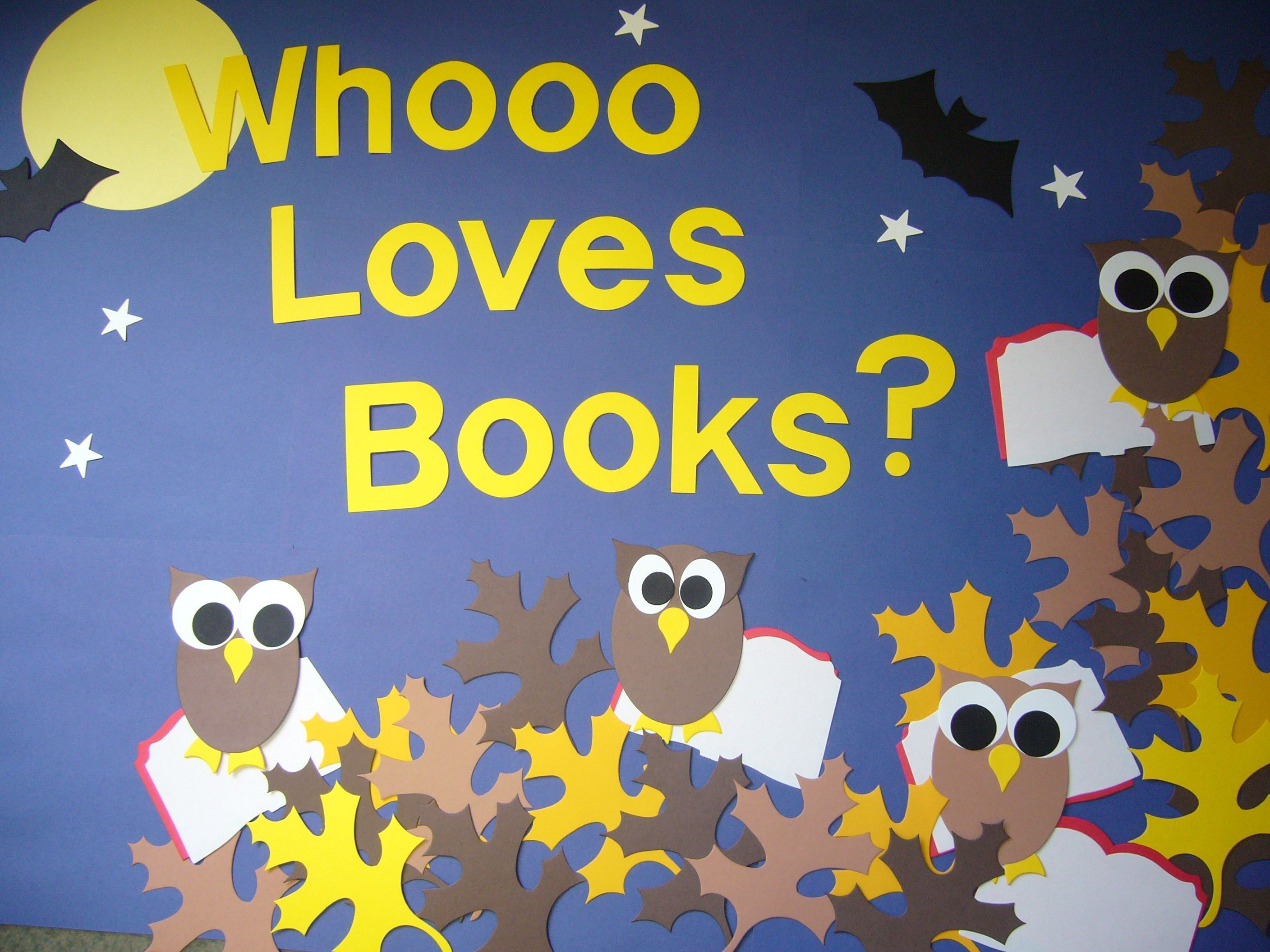 Whoooo Loves Books? with owls and autumn leaves is a cute idea for an autumn reading bulletin board display. #fallbulletinboards Whoooo Loves Books? with owls and autumn leaves is a cute idea for an autumn reading bulletin board display. #octoberbulletinboards Whoooo Loves Books? with owls and autumn leaves is a cute idea for an autumn reading bulletin board display. #fallbulletinboards Whoooo Loves Books? with owls and autumn leaves is a cute idea for an autumn reading bulletin board display. #octoberbulletinboards