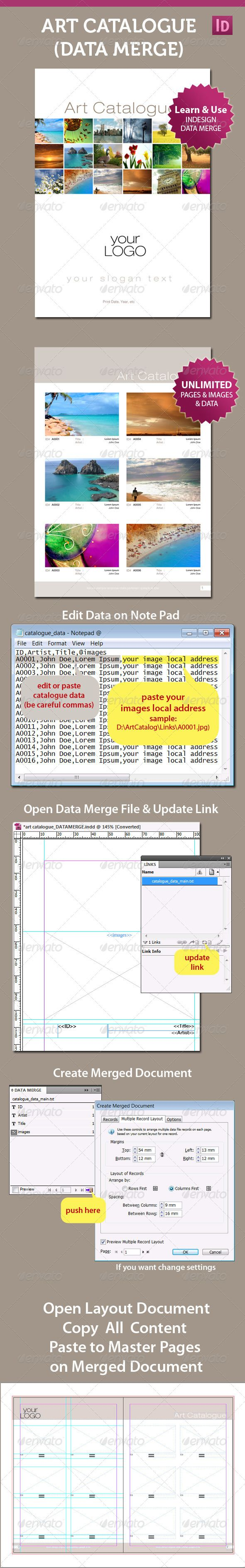 Art Catalogue Template For InDesign Data Merge | Product catalog ...