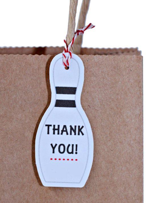 Bowling Party Gift Bag Tags PRINTABLE Theme Printable Birthday Bo