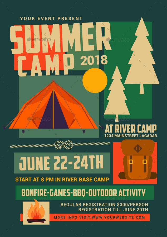 Summer Camp Flyer Event Poster Design School Event Poster Promotional Design