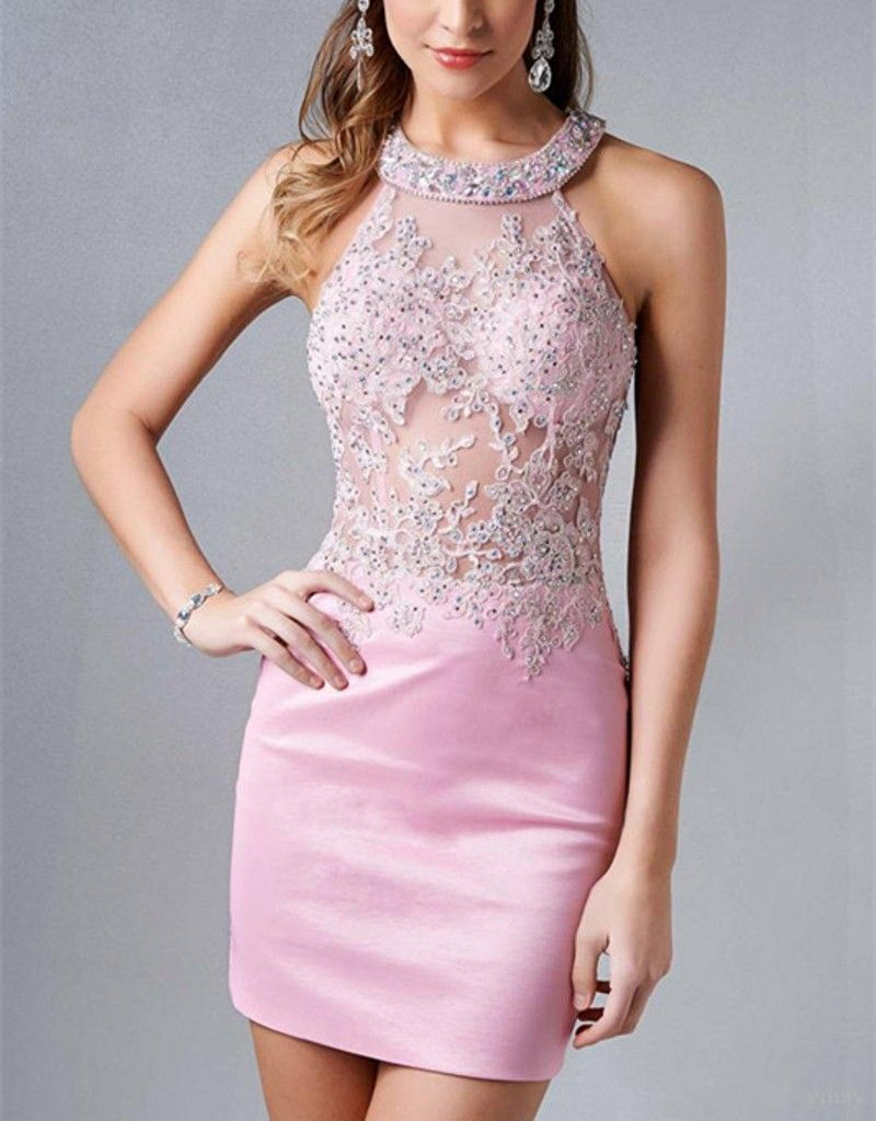 New Pink Short Homecoming Dresses With Crystal Lace Applique Mini ...