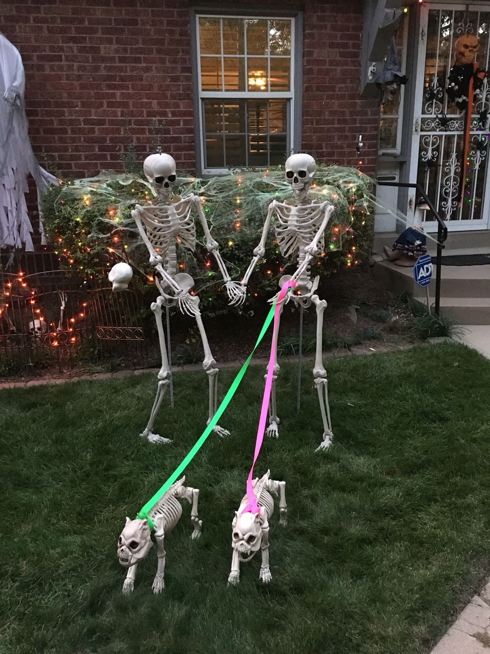 skeletons walking dog decoration. my mom's best halloween decoration
