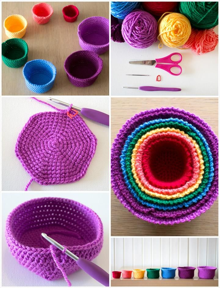 10 Free Crochet Basket Patterns for Beginners   Cestas, Cestas de ...