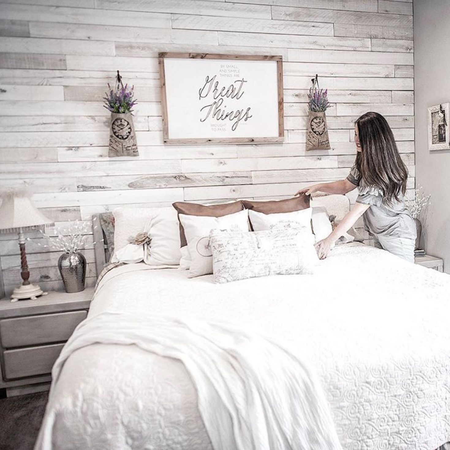 Our White Wash Wall Boards Add Character To This All White Bedroom Photo By Weaber Brand Rep Kelly Ba White Wash Walls Pallet Wall Bedroom Accent Wall Bedroom