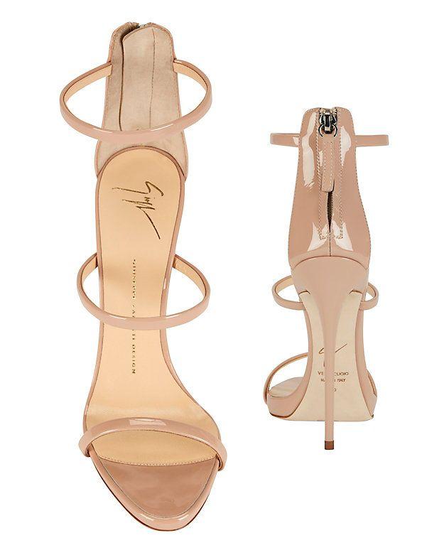 62bb46f4598 Giuseppe Zanotti Triple Strap Patent Leather Sandal  Blush  Three skinny  straps detail the high cut vamp on these patent leather sandals. Back heel  zip.