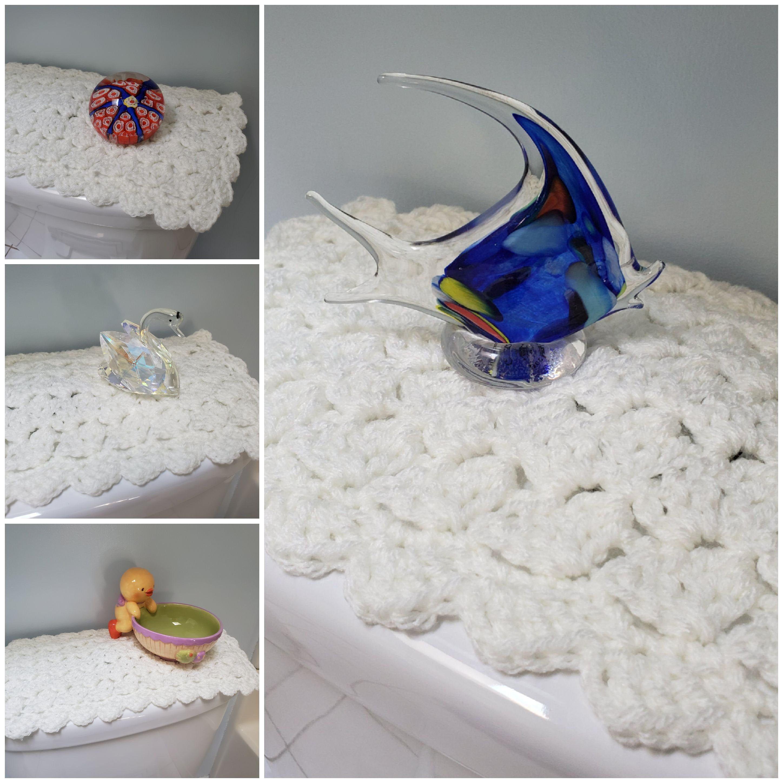 Toilet Tank Topper Crochet Toilet Tank Topper Bathroom Decor Soft White Ttt1h Toilet Tank Bathroom Decor Decor