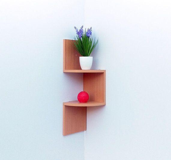 Modern Corner Shelf UP 2 Shelves Wall Bookshelf Storage Wooden
