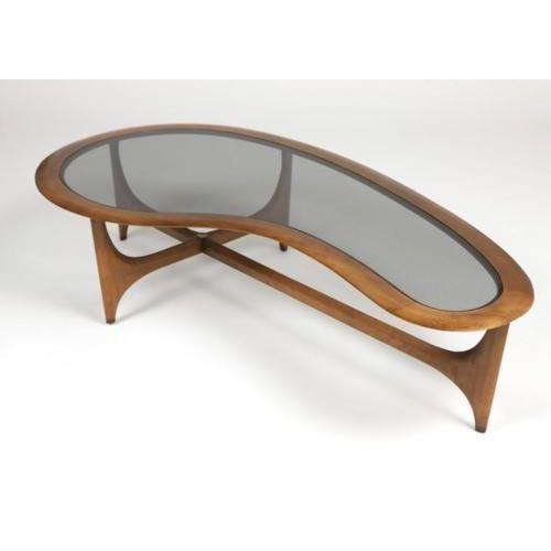 Lane Kidney Shaped Walnut Glass Coffee Table Coffee Table Glass Coffee Table Wood Table Design