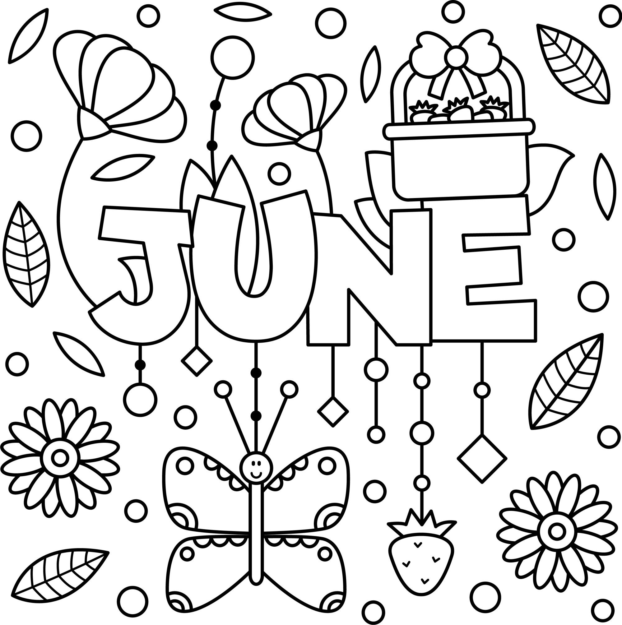 Cheery June Coloring Page Printable Coloring Pages Spring Coloring Pages Coloring Pages For Kids