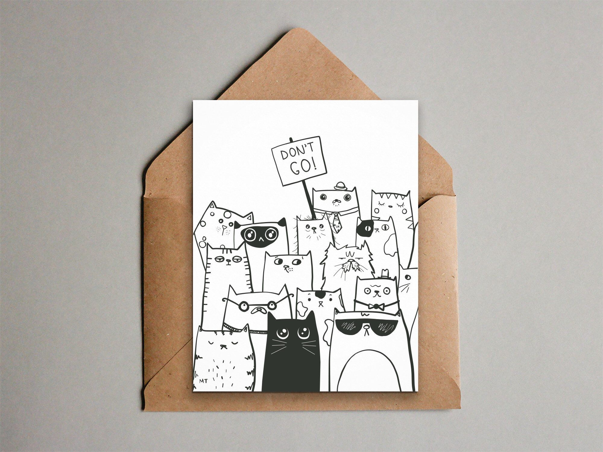 Printable Don T Go Goodbye Cats Greeting Card From All Etsy Cat Greeting Cards Farewell Cards Greeting Card Template