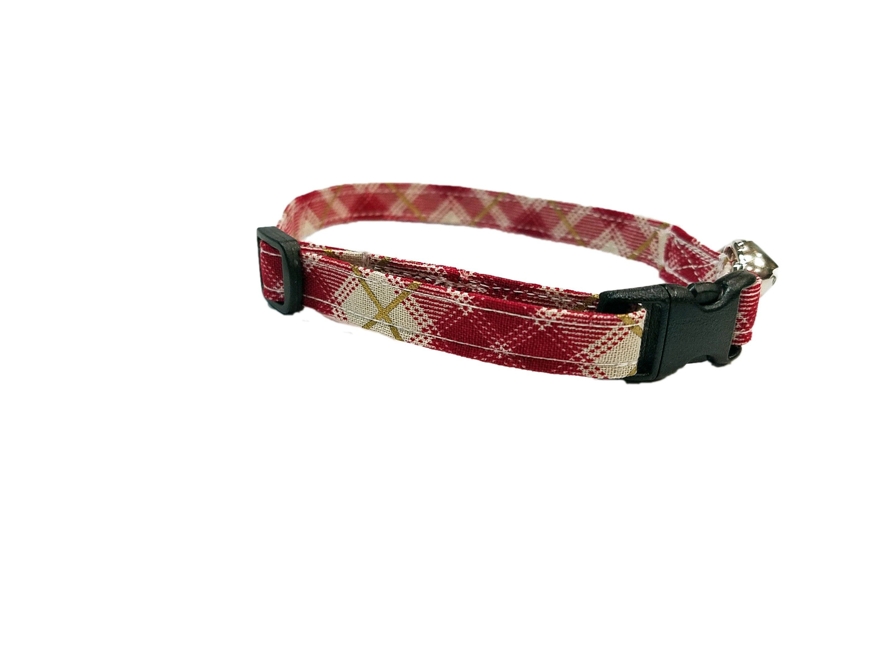Red Gold Bias Plaid Cat Or Kitten Collar Adjustable Christmas Holiday White Preppy Cotton Fabric With Bell An Kitten Collars Cat Collars Christmas Cat Collar