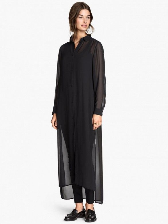76427c5f4b594 H&M Shirt Dress // sheer black maxi shirt dress worn over black leggings