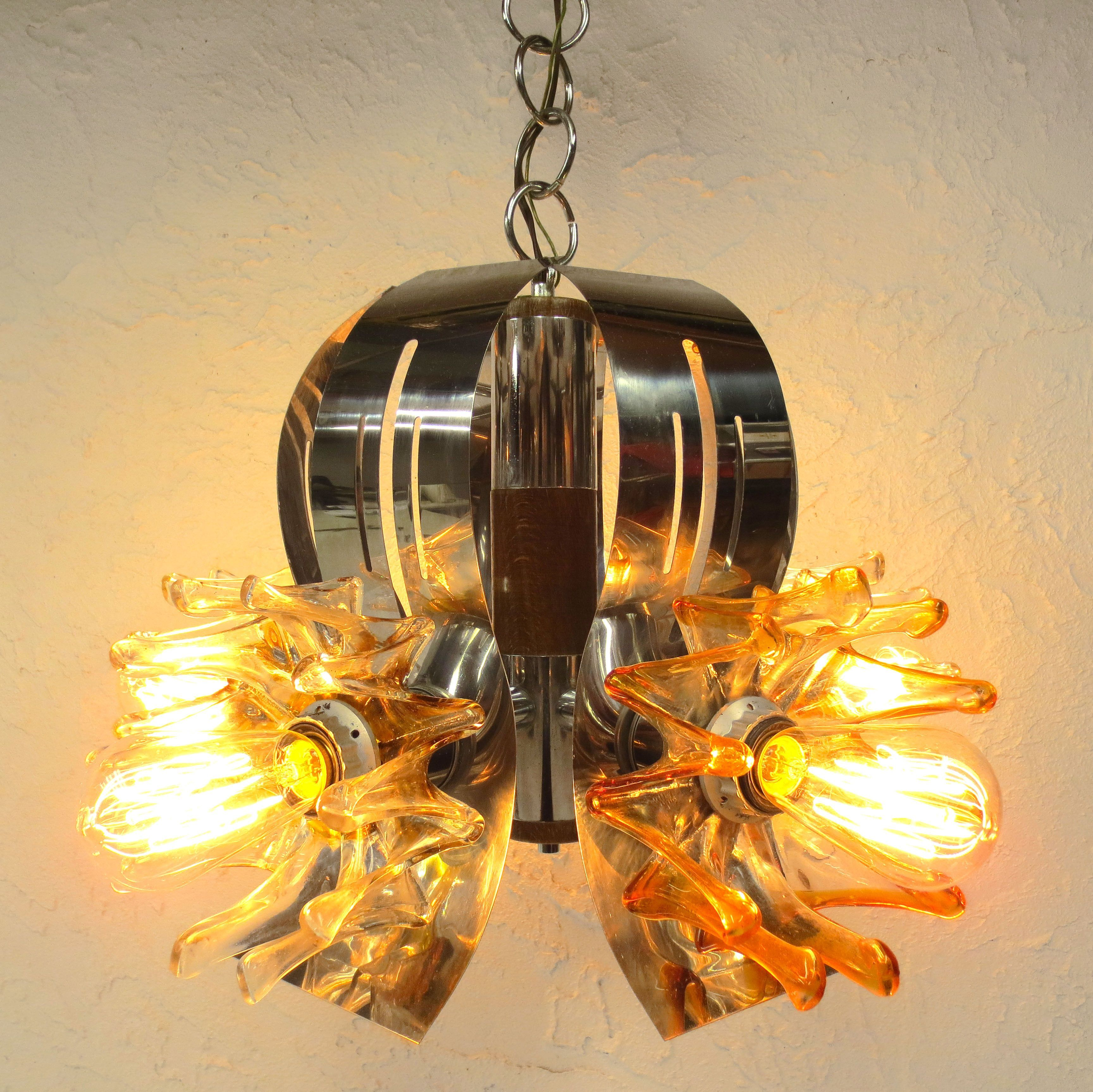 Vintage Mid Century Chrome Ceiling Light Chandelier 26 Wood Glass Flowers