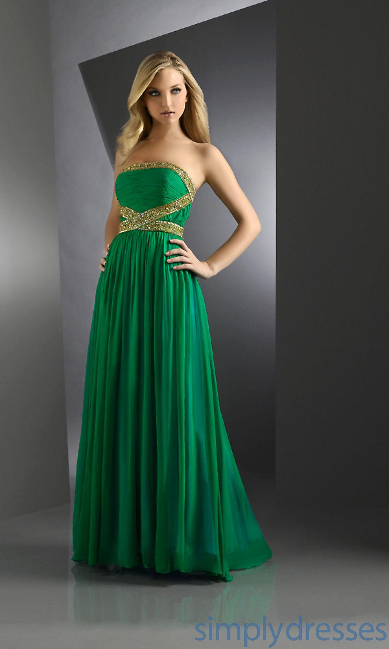 Strapless green flowing dress bjbjv fashion pinterest