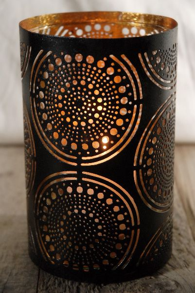 lima patterned metal candle shade can