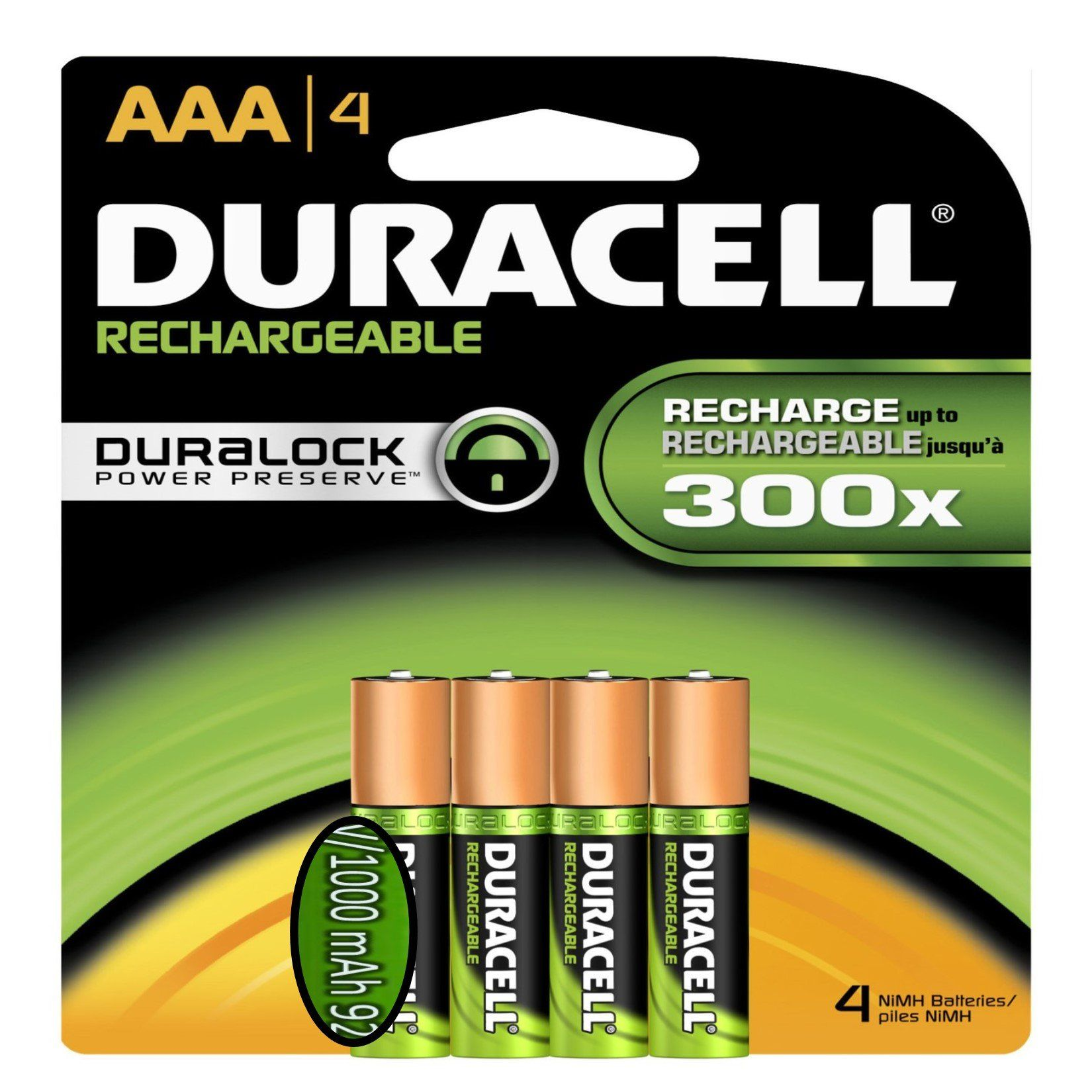 Duracell Aaa Rechargeable Batteries 4 Pack 1000 Mah Rechargeable Batteries Duracell Recharge
