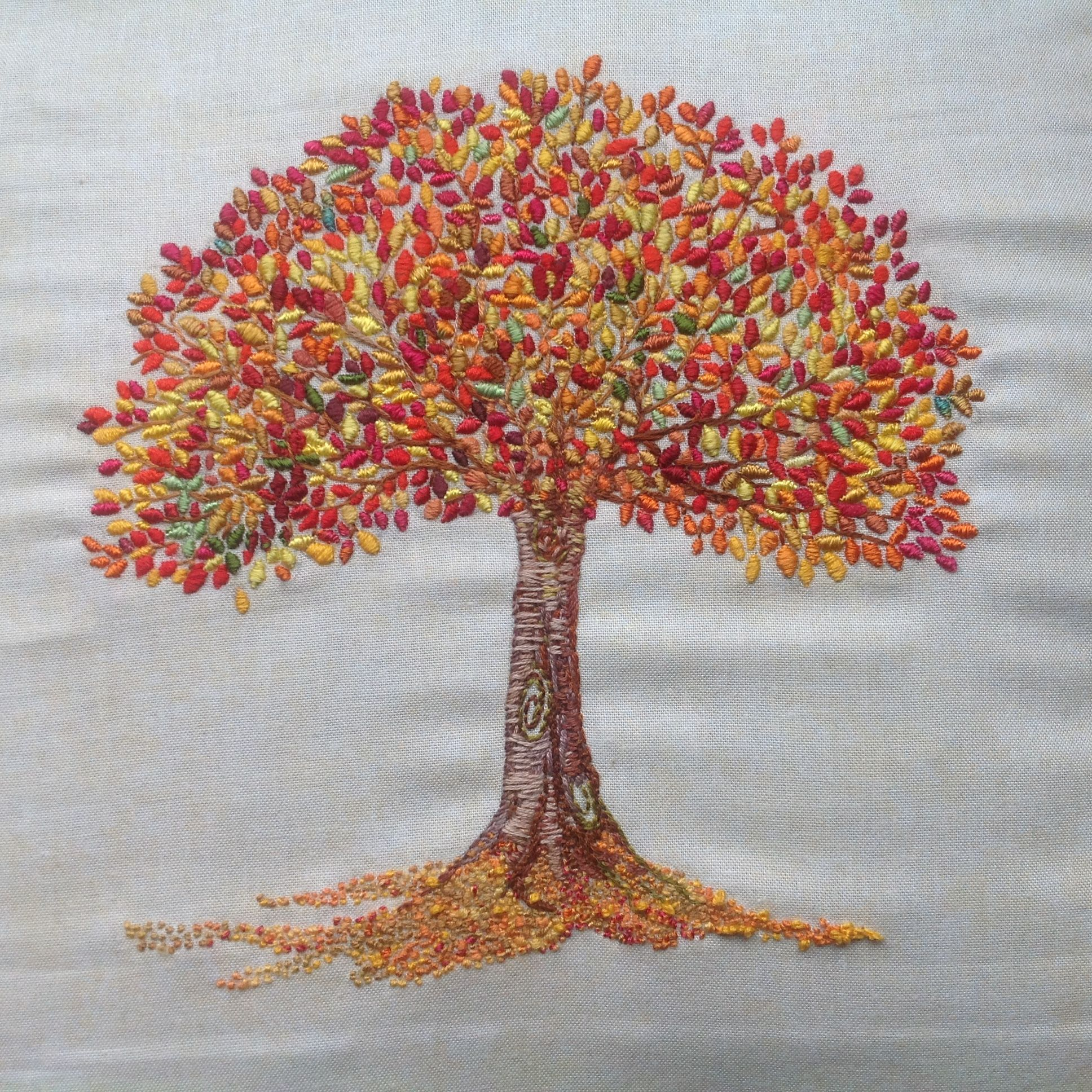 Autumn tree embroidery sewn with silk threads