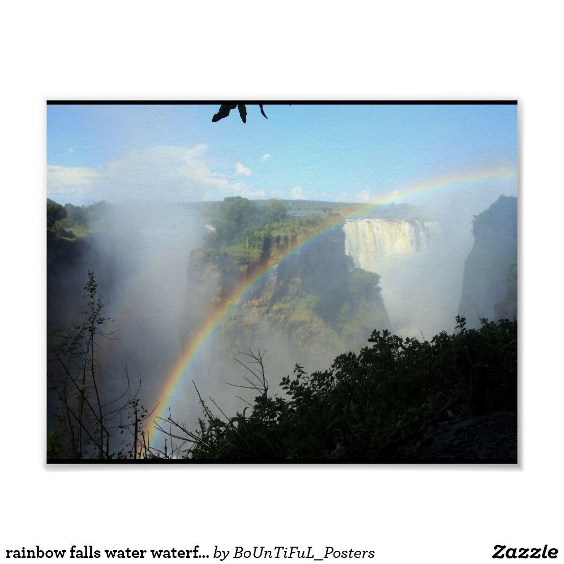 rainbow falls water waterfall park gold golden poster | Zazzle.com #rainbowfalls