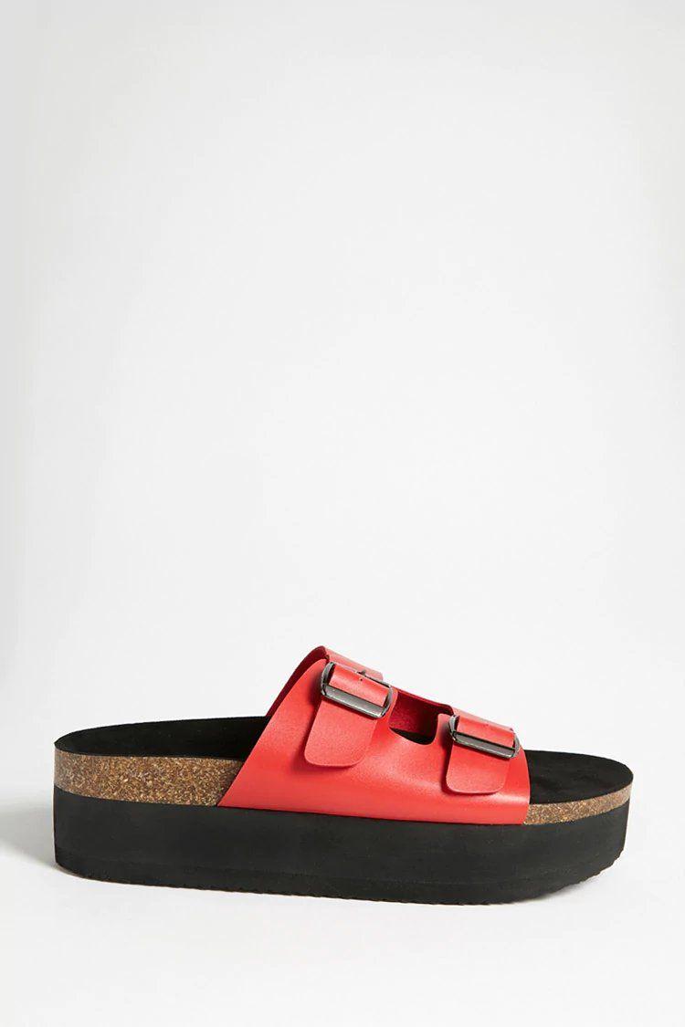 a264088bd3f5 Faux Leather Platform Slide Sandals