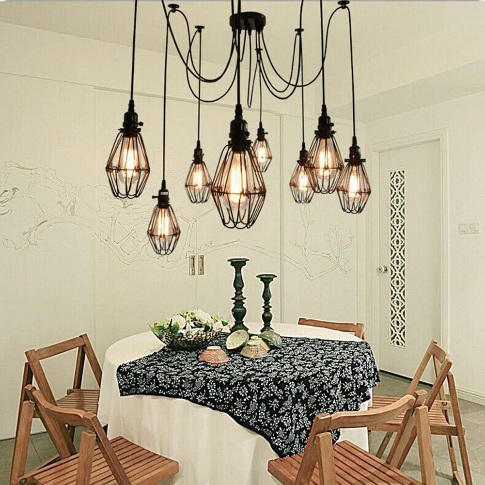 Vintage Ceiling Lamp, SUN RUN Hanging Lighting Edison Multiple Adjustable DIY Ceiling Spider Lamp Light Metal Wire Cage Pendant Lighting Chandelier