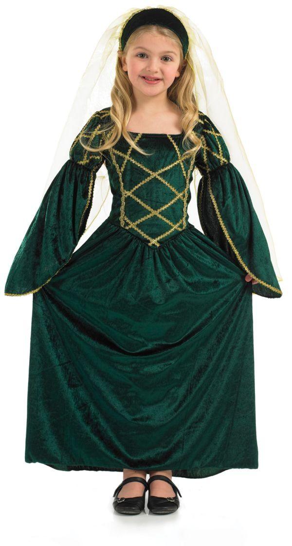 Juliet Costume Kids Renaissance Maiden Gown Fancy Dress