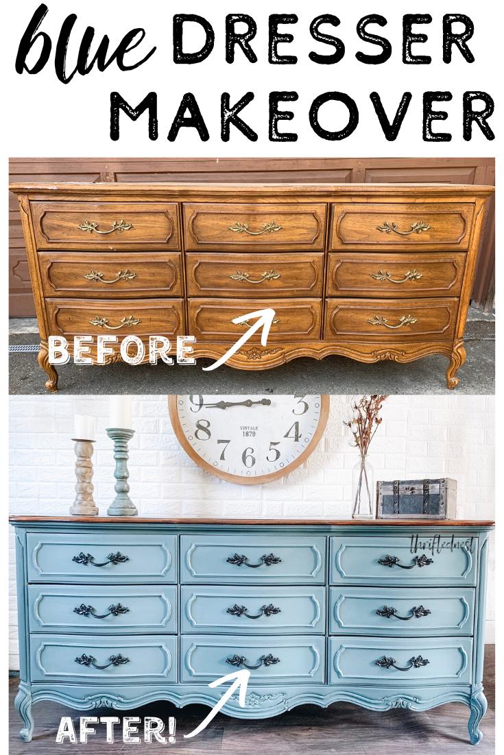 French Blue Furniture   Dresser Makeover   Blue furniture, Blue ...