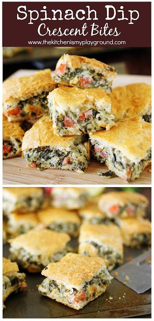 Spinach Dip Crescent Bites ~ All the goodness of spinach dip, baked up between flaky layers of crescent rolls!  Perfect for any party menu. #spinachdip #partyfood #gameday   www.thekitchenismyplayground.com #appetizersforparty
