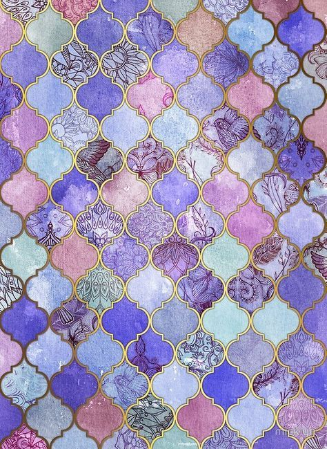 'Royal Purple, Mauve & Indigo Decorative Moroccan Tile Pattern' Photographic Print by micklyn