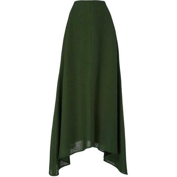 Hellessy     Melo Asymmetric Midi Skirt (1,160 CAD) ❤ liked on Polyvore featuring skirts, dark green, mid calf skirts, midi skirt, a line midi skirt, green skirt and green a line skirt