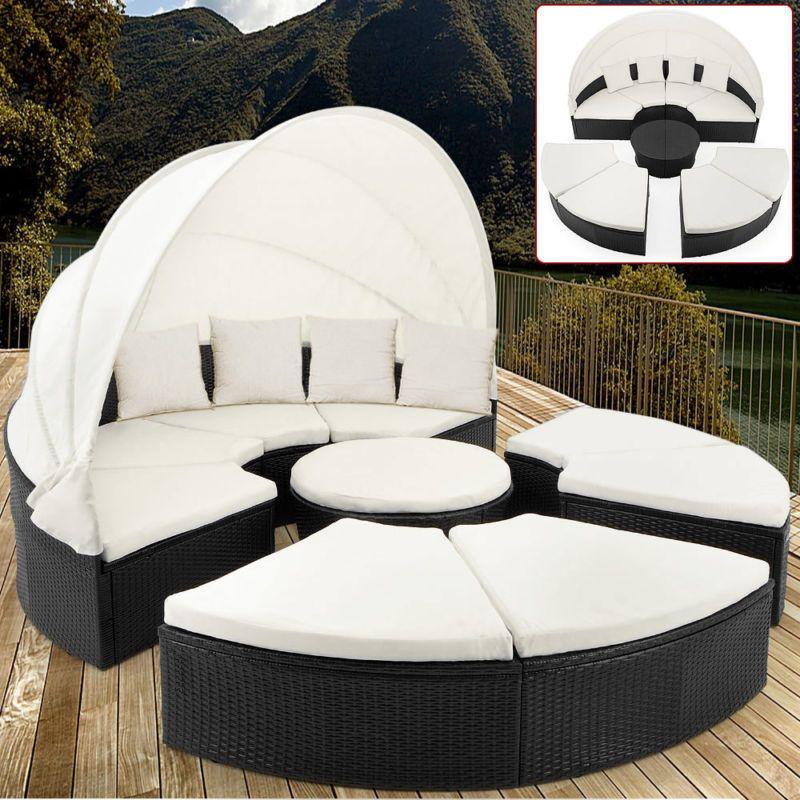 Gartenliege rattan rund  Sonneninsel Rattan Lounge Ø 230cm Gartenliege Sonnenliege ...