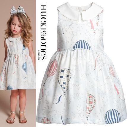 ハックルボーンズ'14春夏コレクションより♪ 女の子キッズ用の気球プリント襟付きブルー・ワンピース☆
