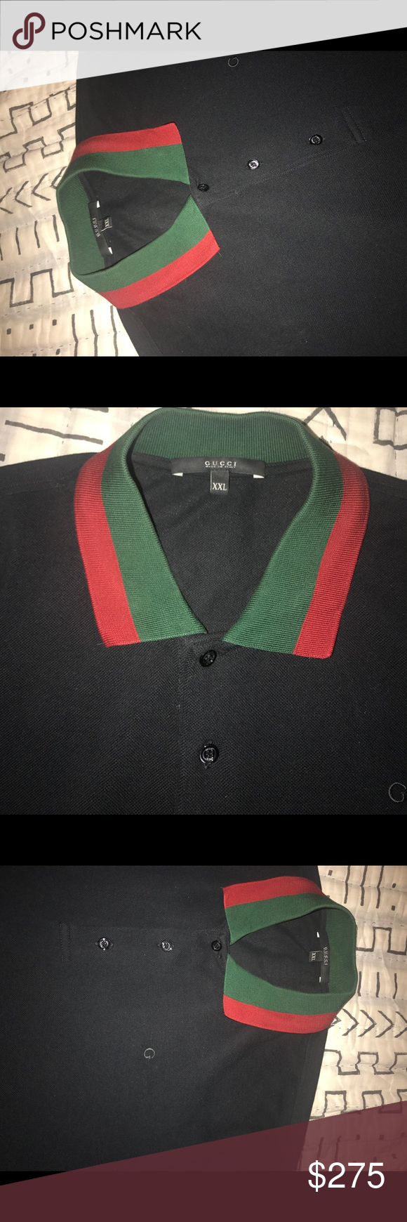 207a2416 Gucci Polo red/green collar Black Gucci polo. Small Embroidered G on upper  right area, classic red/green collar. Size EU XXL (Us L) Gucci Shirts Polos