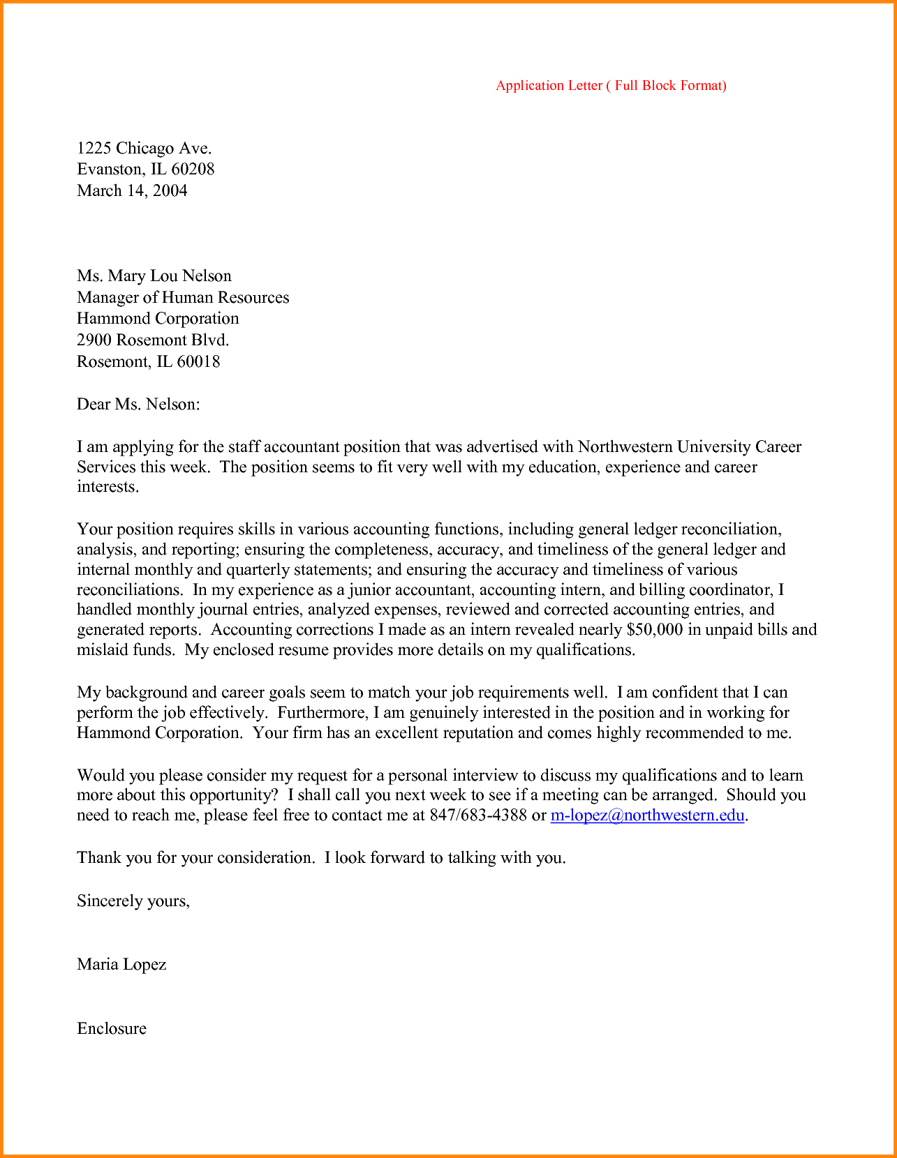 Job Application Letter For Accountant Solicited Fresh