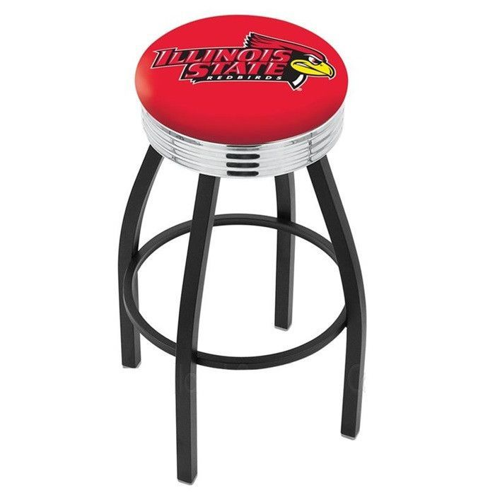 Illinois State Redbirds Chrome Ribbed Ring Black Bar Stool