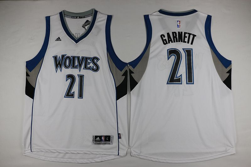 cheaper 9837e 2a0e7 Minnesota Timberwolves #21 Garnett White Men 2017 New Logo ...