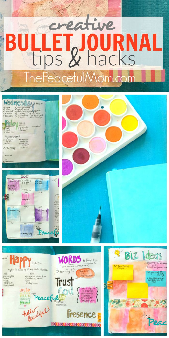 Want to be more organized with a bullet journal? Check out these bullet journal tips and hacks plus see some of my bullet journal pages. -- from ThePeacefulMom.com