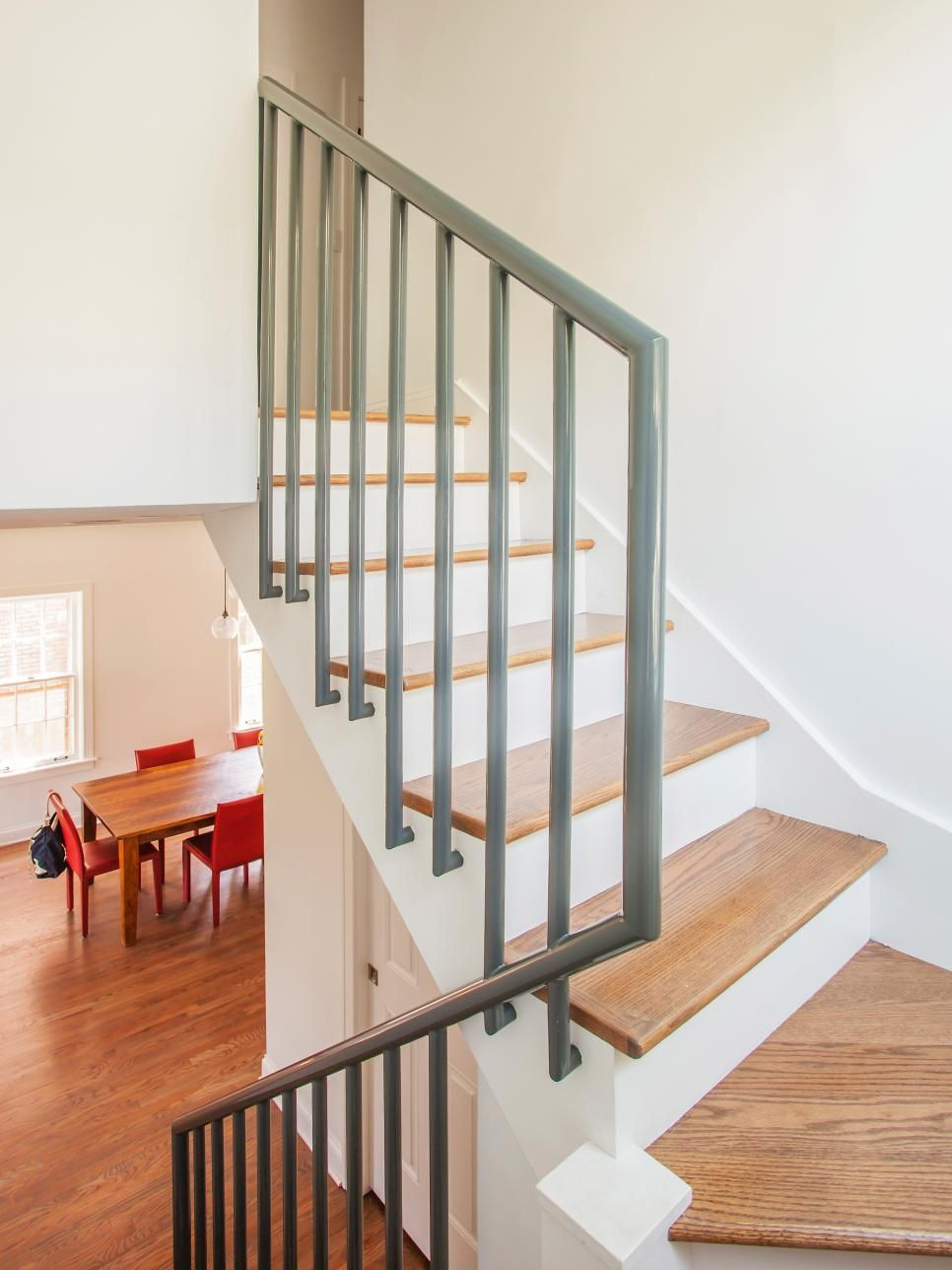 Best Simple Wood Stairs Paired With A Gray Metal Railing Lead 640 x 480