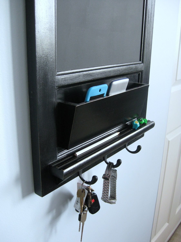 Vertical Wall Chalkboard Cork Bulletin Board With Mail Organizer And Storage Key Hooks Shelf