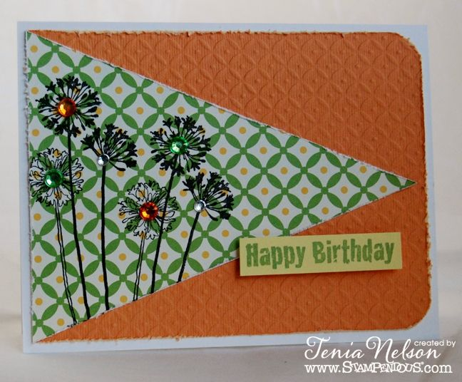 Happy Birthday Card. Agapanthus Thanks Perfectly Clear Stamps by #Stampendous! Availble @Michael Sullivan Stores. By @Tenia Klein Nelson